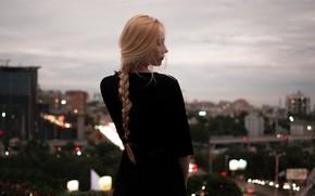 Picture the city, view, profile, braid, curls, Daniel Vereshagin