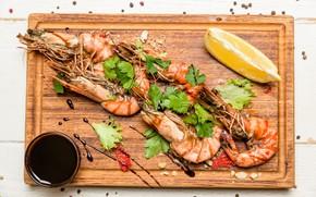 Picture lemon, shrimp, seafood, spices