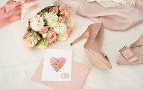 Picture style, bouquet, Pink, dress, shoes, Rings, wedding, Romantic