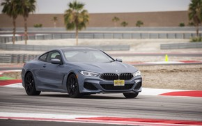 Picture coupe, BMW, curves, track, 2018, gray-blue, turns, 8-Series, 2019, M850i xDrive, Eight, G15