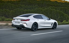 Picture road, white, vegetation, coupe, BMW, Gran Coupe, 840i, 8-Series, 2019, the four-door coupe, Eight, G16