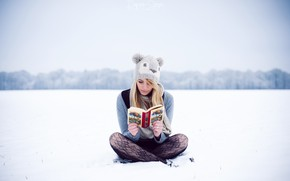 Picture winter, girl, snow, hat, book, sitting