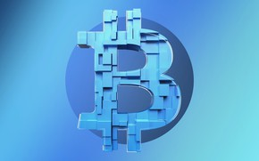 Picture bitcoin, blue, bitcoin, 3D, blue, shadow, fon, logo