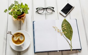 Picture flower, flowers, coffee, glasses, Notepad, wood, notebook, flowers, coffee, smartphone, mobile