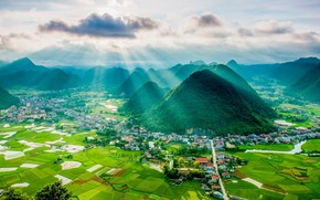 Picture mountains, the city, field, valley, Vietnam, Vietnam, Aerial view of Bắc Sơn valley, Lang Son