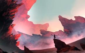 Picture Mountains, Figure, Rocks, Silhouette, Landscape, Art, Landscapes, Digital Art, Sunlight, TacoSauceNinja, by TacoSauceNinja, Sunlight 3