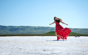 Picture sand, the sky, girl, nature, pose, hills, back, brunette, space, red dress, long hair, hand …