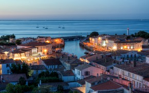 Picture sea, the city, France, Marina, home, the evening, port, they say, Saint-Martin-de-Ré