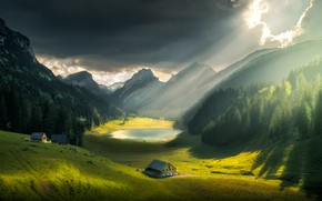 Wallpaper the sky, clouds, rays, light, landscape, mountains, nature, lake, hills, home, Switzerland, valley, forest, meadows, ...