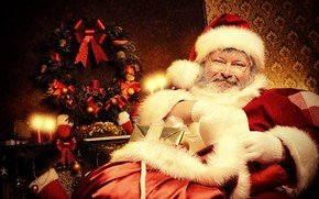 Picture room, mood, holiday, hat, toys, chair, candles, glasses, Christmas, gifts, New year, gloves, coat, fur, ...