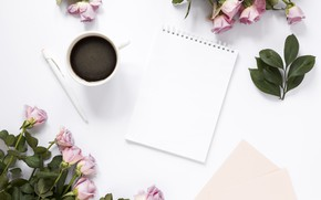 Picture flowers, coffee, roses, handle, Notepad, decor, bouquets