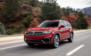 Picture red, Volkswagen, SUV, on the road, Atlas, 2020