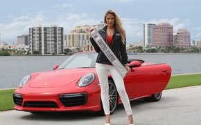 Picture look, Girls, Porsche, beautiful girl, red car, posing on the car