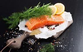 Picture lemon, fish, Board, spices
