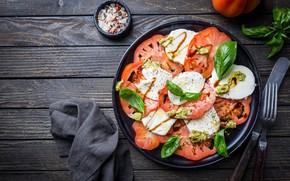 Picture tomatoes, sauce, salad, spices, Basil, Caprese, mozzarella