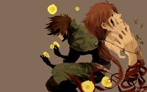 Picture flowers, head, hands, guy, Sengoku Basara, The Era Of Unrest