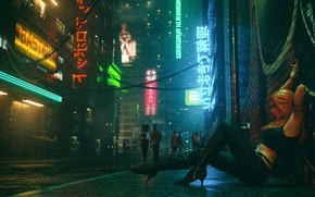 Picture Girl, Night, Music, Street, People, Background, Neon, Club, Cyber, Cyberpunk, Synth, Retrowave, Synthwave, New Retro …