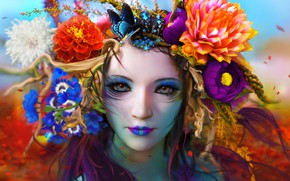 Picture Flowers, Color, Girl, Look, Butterfly, Face, Girl, Eyes, Art, Art, Flowers, Color, Eyes, Face, Look, …