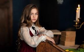 Picture look, photo, hair, books, child, candles, girl, Anastasia Barmina