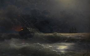 Picture picture, seascape, Ivan Aivazovsky, Burning Ship