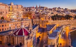 Picture building, street, Malta, Valletta