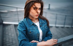 Picture look, pose, model, portrait, makeup, hairstyle, ladder, railings, brown hair, beauty, bokeh, dzhinsovka, Victor Sidorenko