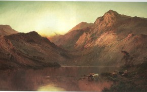 Picture mountains, lake, BREANSKI, SUNSET ON THE LOCH, bovolato