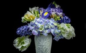 Picture flowers, background, bouquet, vase