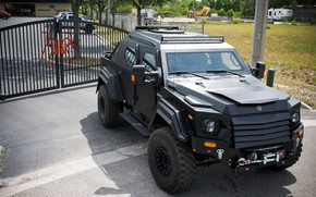 Picture street, black, the fence, jeep, SUV, Armored car, armored car, Terradyne Armored, Armet Gurkha, Terradyne …