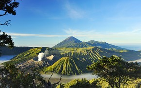 Wallpaper the sky, the sun, trees, mountains, branches, fog, valley, Indonesia, volcanoes, Mount Bromo, Surabaya
