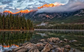 Picture forest, clouds, trees, sunset, mountains, lake, stones, Jasper National Park