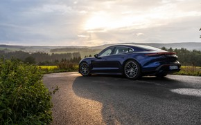 Picture shadow, Porsche, Parking, Turbo, 2020, Taycan