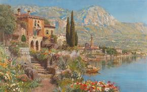 Picture Alois Arnegger, Austrian painter, Austrian painter, oil on canvas, Alois Arnegger, View of Riva on …