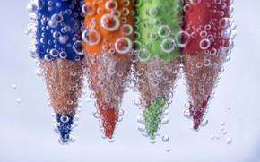 Picture water, bubbles, pencils