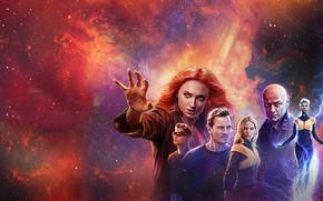 Picture James McAvoy, Michael Fassbender, Jennifer Lawrence, Sophie Turner, X Men, Dark Phoenix, X-men