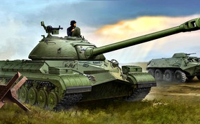 Picture tanker, Soviet, anti-hedgehog, BTR-60, T-10, armored forces