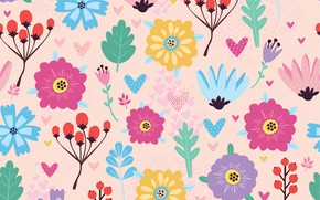 Picture flowers, texture, flowers, BACKGROUND, pattern, berries, Seamless