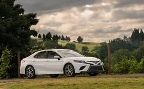 Picture white, Toyota, sedan, 2018, Camry, four-door, SE