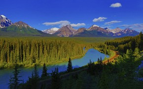 Picture forest, mountains, lake, Canada, Albert
