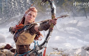 Picture winter, girl, bow, arrow, Aloy, Horizon Forbidden West