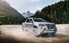 Picture water, mountains, squirt, Mercedes-Benz, pickup, 2018, X-Class, gray-silver