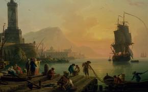 Picture picture, painting, painting, Claude-Joseph Vernet, A Calm at a Mediterranean Port, Клод-Жозеф Вернет, 1770, беспечное …