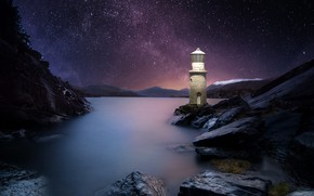 Picture the sky, landscape, night, nature, stones, the ocean, rocks, lighthouse, stars