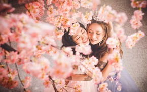 Picture flowers, smile, style, girls, portrait, spring, crown, Sakura, dress, hugs, image, flowering, Asian girls, friend, …
