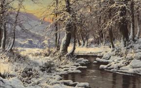 Picture Laszlo Neogrady, Hungarian painter, Laszlo Nogradi, Hungarian painter, Winter stream, Winter Stream