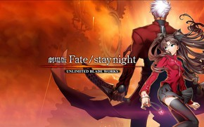 Picture girl, sunset, guy, Rin, Archer, Fate stay night, Fate / Stay Night