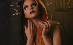Picture look, girl, face, pose, Gothic, portrait, crown, hands, makeup, wreath, nails, halo, iguana, red hair, …