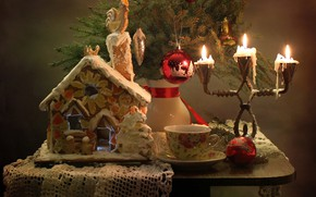 Picture winter, house, tree, new year, Christmas, candles, still life, gingerbread