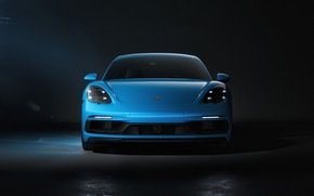 Picture Auto, Blue, Porsche, Machine, Cayman, Blue, Car, Rendering, The front, Transport & Vehicles, Sergey Poltavskiy, …
