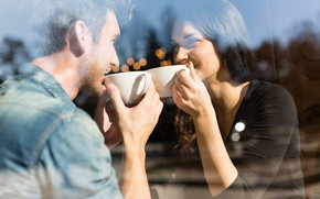 Picture glass, girl, Cup, cafe, male, lovers